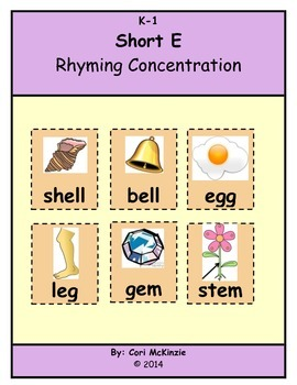 Short E Rhyming Memory Concentration Reading Center Flashcards
