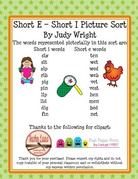 Short E - Short I Picture Sort
