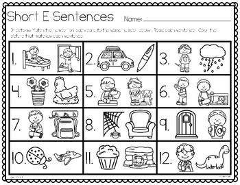 Short E Simple Sentences Task Cards