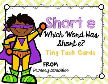 Short E Tiny Task Cards