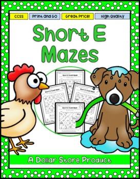 Short E Vowel Maze Practice Printables