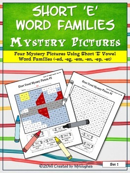 Short 'E' Vowel Word Families Mystery Pictures