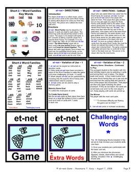 Short E - WORD FAMILY - Card Game