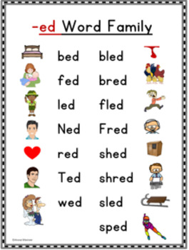 Short E Word Families/ Activities, Posters, & Definitions