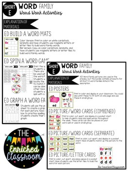 Short E Word Families Word Work Activities Bundle