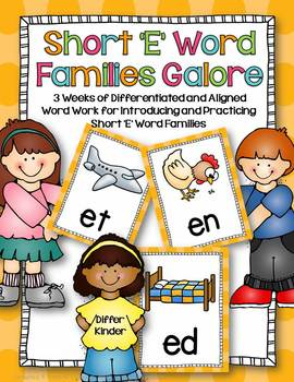 Short 'E' Word Families Word Work Galore Bundle-Differenti