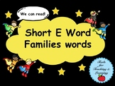 Short E Word Families Words