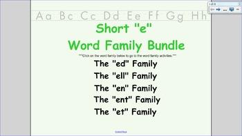 Short E Word Family BUNDLE: includes ed, ell, en, ent, et