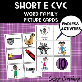 Short E Word Family CVC Picture Cards