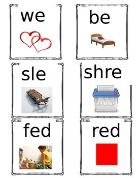 Short E Word Family Cards