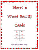 Short E Word Family Practice Cards