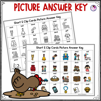 Short E Word Family  Clip Cards