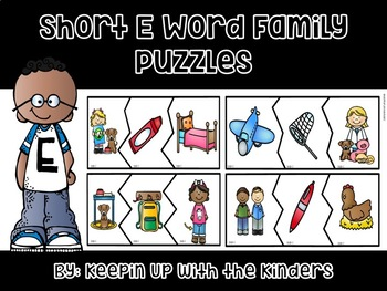 Short E Word Family Puzzles with Recording Sheet