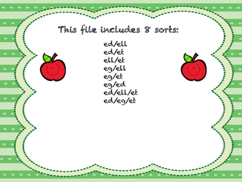 Short Vowel Word Family Sorts- E