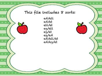 Short Vowel Word Family Sorts- E