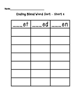 Short E Word Sort (et, ed, en)