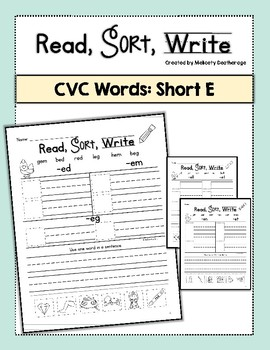 Short E Word Sorts, Read, Sort, Write