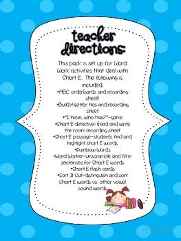 Short E--Word Work Literacy Activities