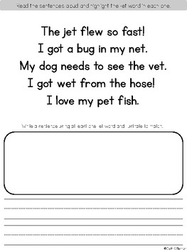 Short E Word Work Printables