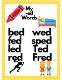Short E Word families poster