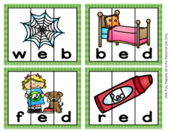 Short E Words CVC Puzzles