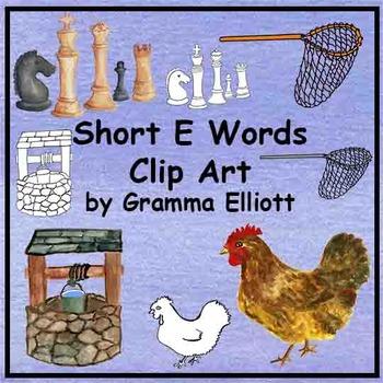Short E Words Clip Art Realistic Color and Black Line