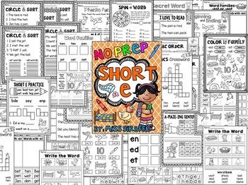Short E Worksheets and Activities {NO PREP!}