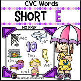 Short E Worksheets ~ CVC Words Activities NO PREP