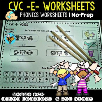 """Short  -E- Worksheets - """" Let's Break the code"""" for Young"""