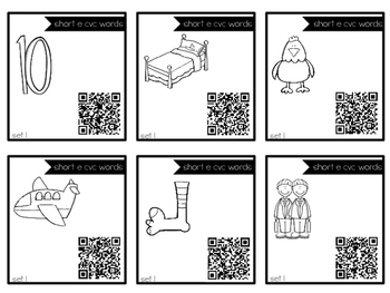 Short E cvc Task Cards with QR Codes for Self-Correcting