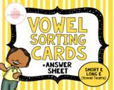Short E vs. Long E (Vowel Teams) Vowel Sorting Cards + RECORDING SHEET