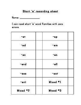 Short E word readers
