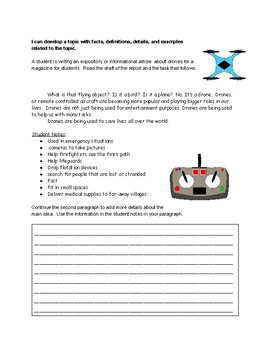 Short Expository Writing Task:  Add a Body Paragraph about Drones