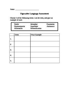 Figurative Language Assessment Quiz Test