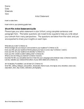 Short Film Artist Statement and Rubric