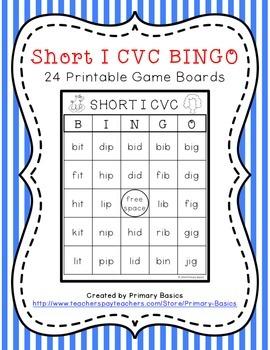 Short I CVC BINGO