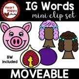 Short I CVC IG Word Family Clipart Mini Set DIGITAL AND PRINT ALLOWED (MOVEABLE)