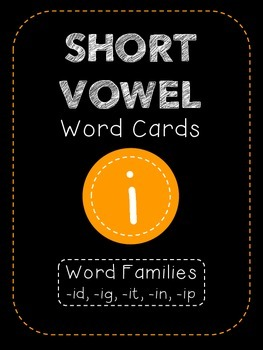 Short I CVC Word Family Cards