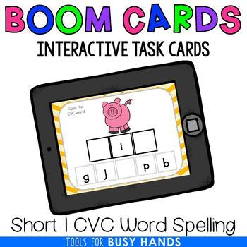 Short I CVC Word Spelling Interactive Digital Task Cards (Boom! Deck)
