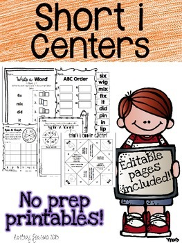 Short I Centers Editable Printables