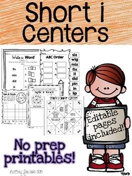 Short I Centers Editable Printables