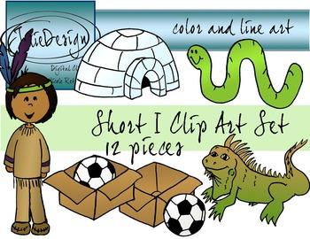 Short I Clip Art Set - Color and Line Art 12 pc set