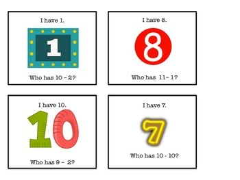 """Short """"I Have, Who Has?"""" game for small group math center"""