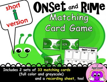 Short I Onset and Rime Matching Game