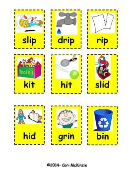 Short I Rhyming Memory Concentration Reading Picture Flashcards