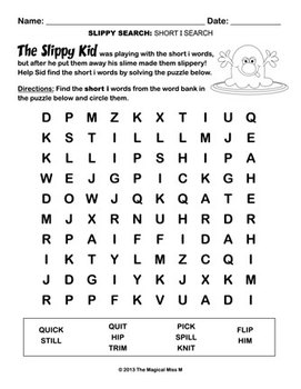 Short I Vowel Word Work: Sid and The Slippy Kid! (Common Core Aligned)