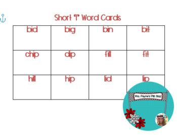 Short I Word Cards