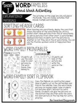 Short I Word Families Word Work Activities Bundle