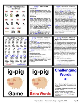 Short I - Word Family - Card Game