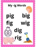 Short I Word Family Poster